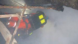 Z archivu HBZS – zapálení metanové vrstvy při pálení v jámě č. 2 v Dole Jeremenko